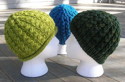 Chunky Dean Street Hat.  Nice first pattern for cabling.  Doesn't actually use cable needle.  Also nice knit, since it uses chunky yarn so it goes fast.  Has a lot of stretch to it too.  Free Ravelry download.