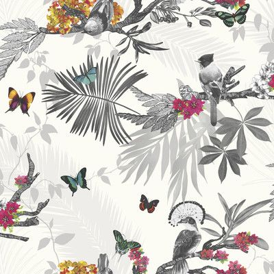 """You'll love the Mystical Forest White Multi 33.5' x 22"""" Wildlife Wallpaper at AllModern - With Great Deals on modern Décor  products and Free Shipping on most stuff, even the big stuff."""