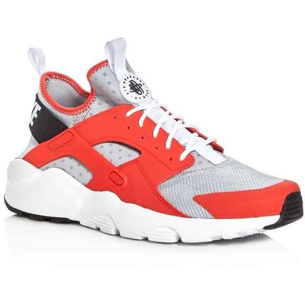 Nike Men's Air Huarache Run Ultra Lace Up Sneakers ($120) ❤ liked on Polyvore featuring men's fashion, men's shoes, men's sneakers, mens sneakers, nike mens sneakers, mens lace up shoes, nike mens shoes and mens shoes