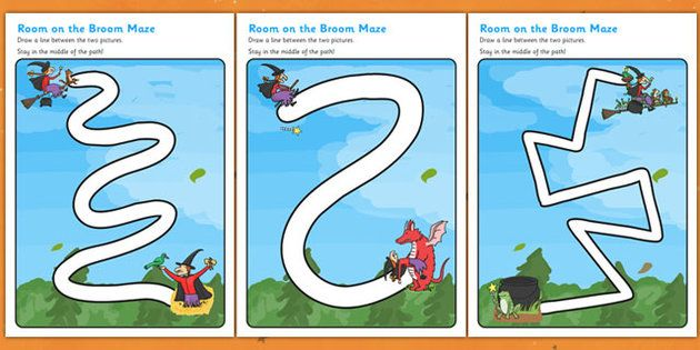 Room on the Broom Pencil Control Path Worksheets