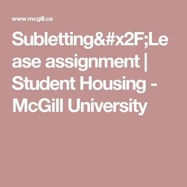 Subletting/Lease assignment | Student Housing - McGill University