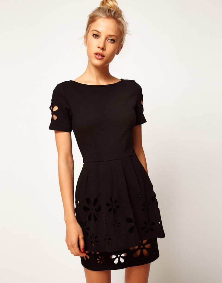 Asos Peplum Skater with Daisy Cutwork in Black