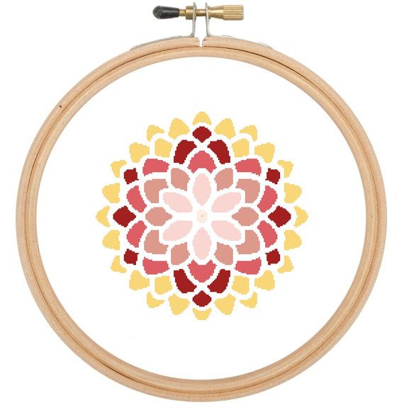 Cross stitch pattern Moroccan style large flower £3.60 by CraftwithCartwright