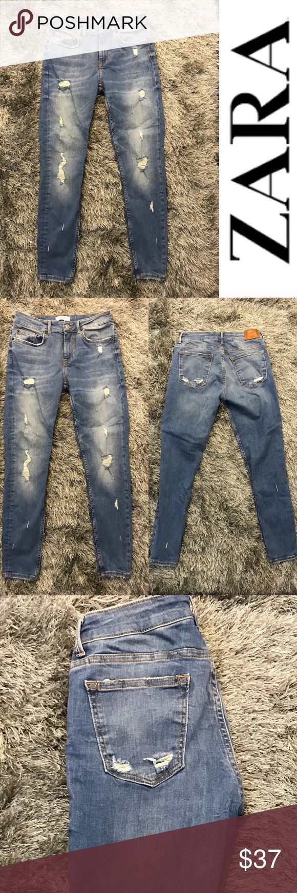 """Zara distressed skinny jeans medium wash Medium wash distressed Zara  skinny jeans  Perfect condition  New without tags  All sizes are approx  may not be exact ( I'm only human) Inseam : 27"""" Outseam : 36 1/2"""" Leg opening : 10"""" Front rise: 9"""" Back rise: 12"""" Hip:35"""" Zara Jeans Skinny"""