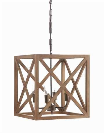 Wood & Metal Cube Chandelier