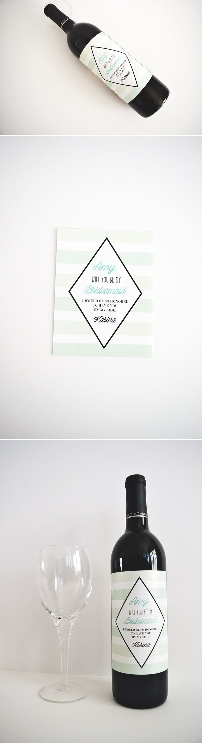 Mint Stripes Bridesmaid Gift Wine Labels - #wine #labels #wedding #mint #stripes #nautical #modern #classic #bridesmaid #proposal #maidofhonor