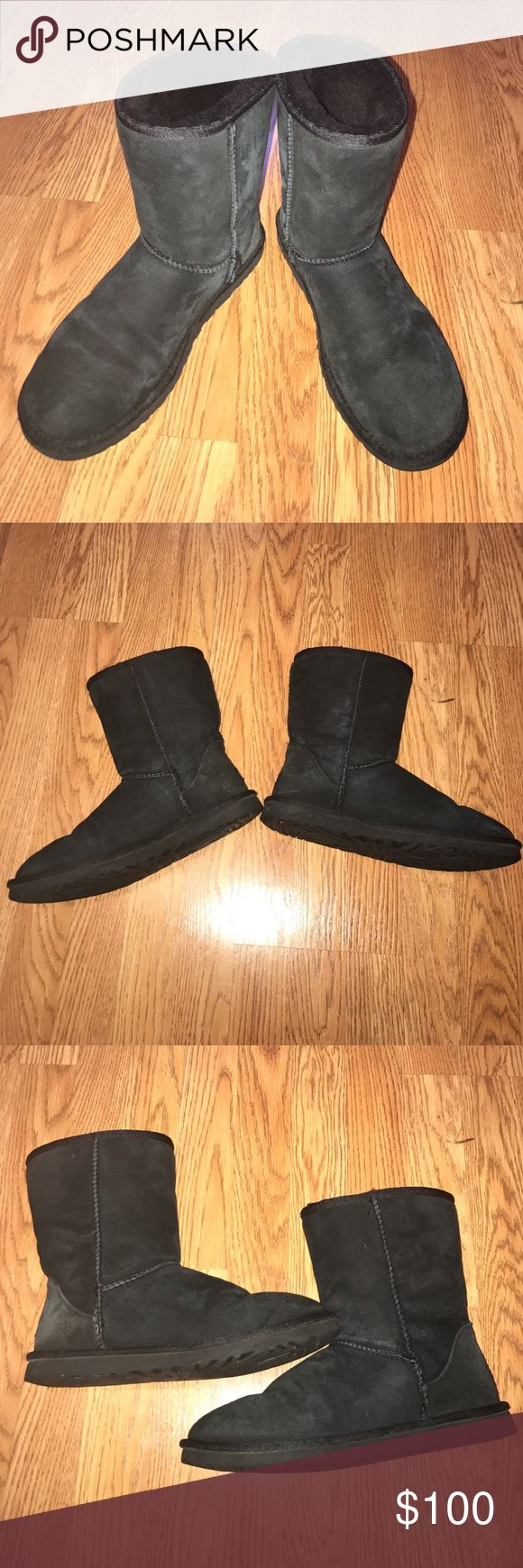 Classic Short Black Uggs Classic Style, Short (not the mini short, regular height sized) black uggs. Women's size 9! Fits 8.5-9 size foot perfectly. In great condition, worn about 15 times from December 16-February 17. No ripping or tearing on seams or soles of shoe. UGG Shoes Winter & Rain Boots