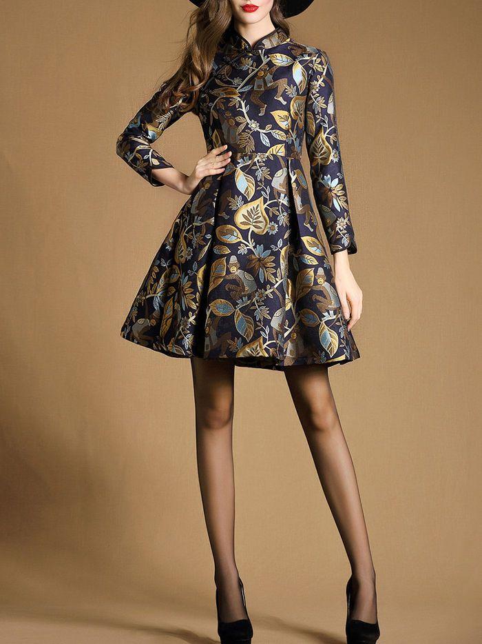 Jacquard Cotton-blend Mini Dress with Mandarin Collar