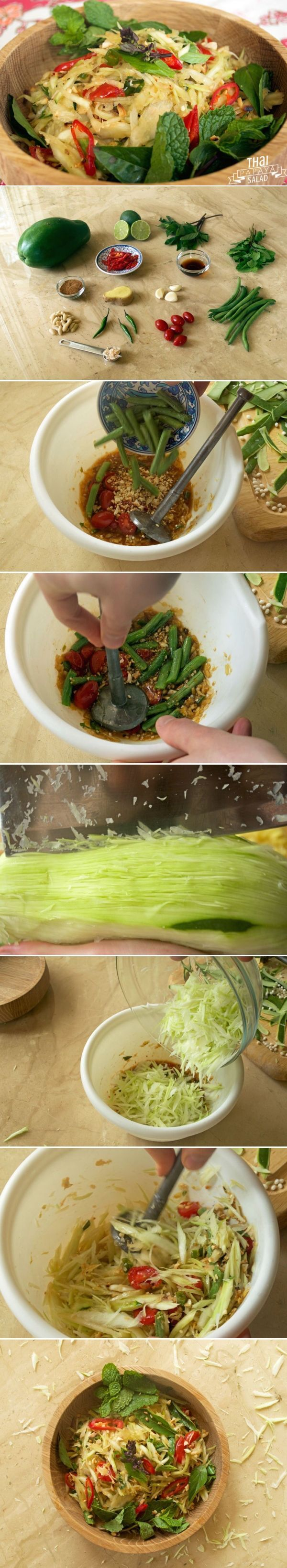 """Coming from the northeastern Isaan region of Thailand, som tam literally translates into """"pounded sour"""" and gives you a pretty good idea what happens to green papaya in a unique spicy and spur sauce! Click for recipe"""
