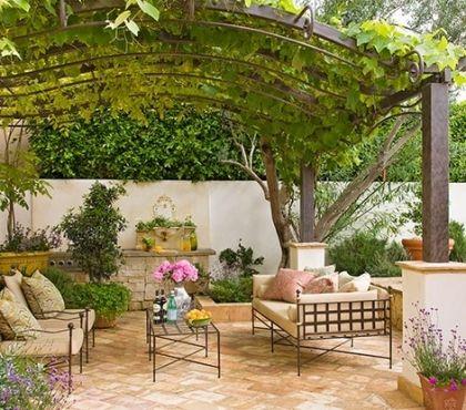 beautiful-grape-arbor-mediterranean-patio-design-outdoor-furniture-wrought-iron