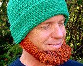 IRISH Beard Beanie Hat - Made to Order - Irish Red Chin Beard- St Patrick's Day. $48.00, via Etsy.