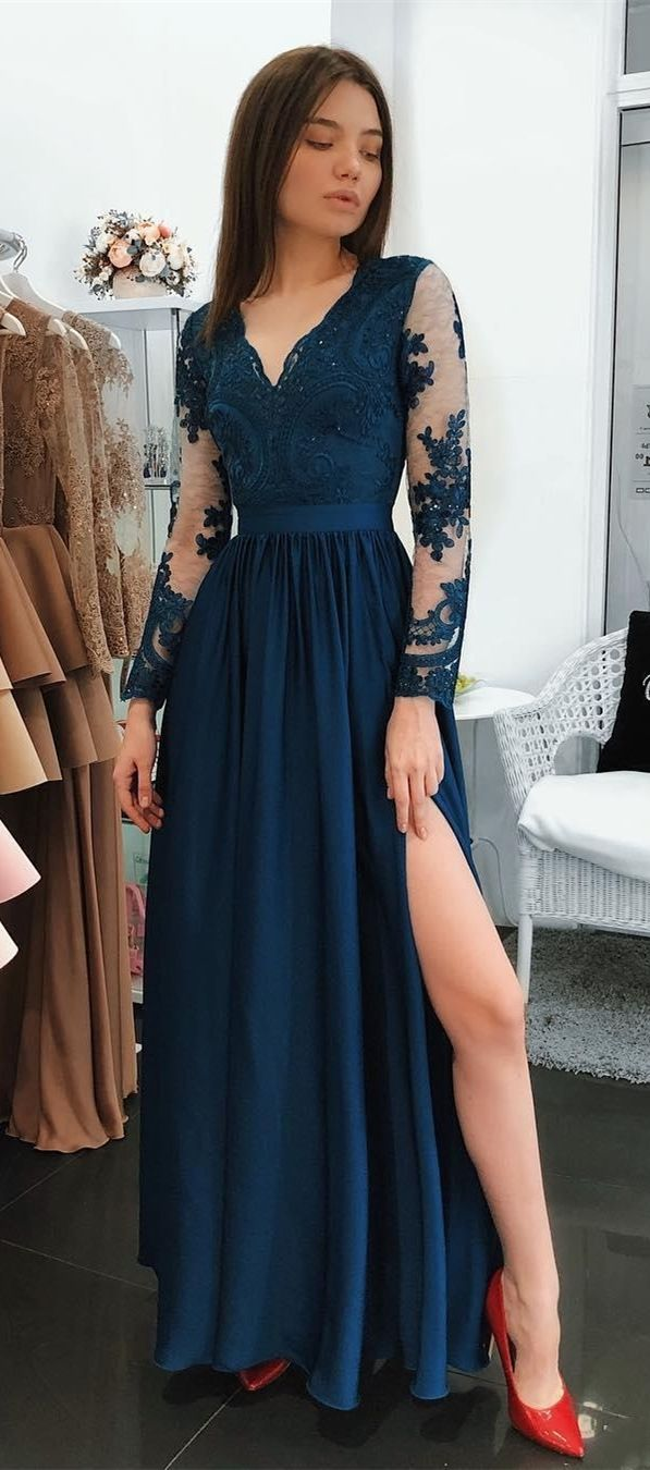 Formal Long Sleeves Evening Dresses With Applqiues Simple A Line Long Prom Dresses Elegan Prom Dresses Long With Sleeves Jersey Prom Dress Elegant Prom Dresses [ 1350 x 597 Pixel ]