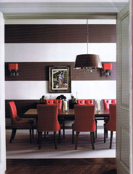 Fresh fun and funky the chocolate and white stripes for Dining room colour inspiration