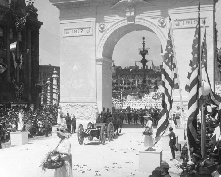 Thousands lined the streets in Indianapolis on May 7, 919 to welcome home Indiana's returning World War I soldiers. Women threw flowers in the path of soldiers marching up Meridian Street to the Circle, where a living Red Cross was formed on the steps of the Soldiers and Sailors Monument. A victory arch spanned the Meridian Street entrance to the Circle. Indianapolis Star file photo Paul Shideler