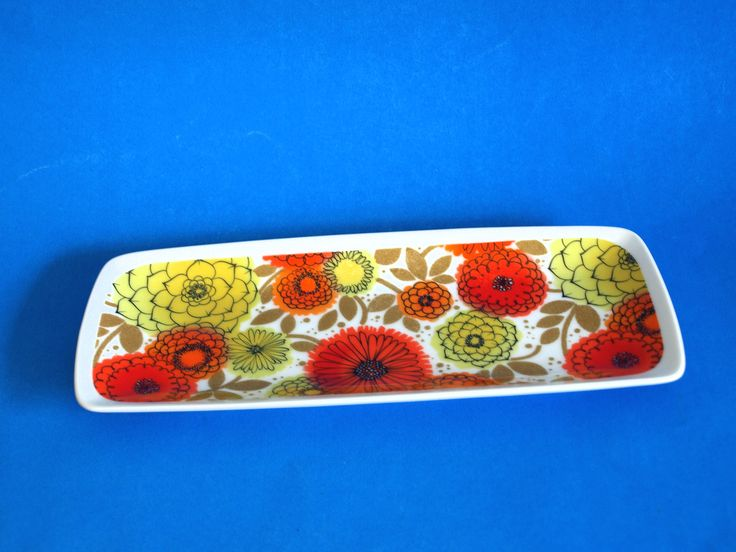 Westminster Fine China Flower Power Plate - Retro 70s Zinnia Sunflower Daisy Poppies Serving Platter Tray Dish - Made in Australia by FunkyKoala on Etsy