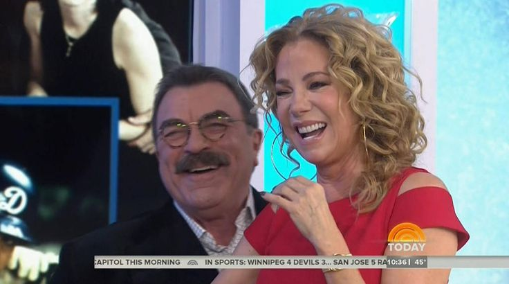"March 29, 2017 Kathie Lee Gifford and Tom Selleck Shared a Hot Kiss on the Today Show like 20 years ago ""Happy Anniversary"""