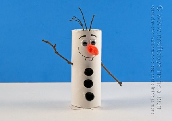 Cardboard Tube Olaf: Snowman from Frozen by Amanda Formaro of Crafts by Amanda