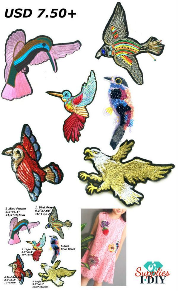 Bird Patches Lange Bead Crystals Patch for Jackets Fabric Brooches Embroidered Patch for Clothes Bird Applique for Bag Fabric Patch