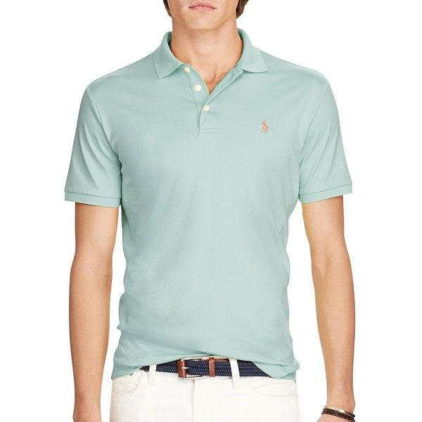 Polo Ralph Lauren Classic-Fit Pima Cotton Polo Shirt ($85) ❤ liked on Polyvore featuring men's fashion, men's clothing, men's shirts, men's polos, dusted ivy, mens classic fit shirts, mens short sleeve shirts, mens short sleeve polo shirts, men's pima cotton t shirts and mens embroidered shirts