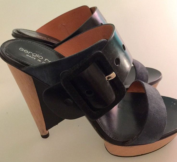 Sergio Rossi Heels (Pre-owned Navy Blue & Black Leather Light Wood Soles Designer High Heel Shoes)