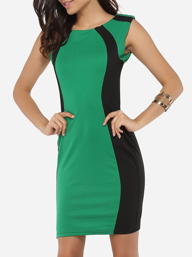 Buy Boat Neck Dacron Color Block Bodycon-dress online with cheap prices and discover fashion Bodycon Dresses at Fashionmia.com.
