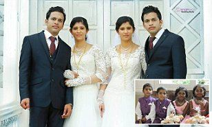 Grooms Dinker and Dilraj Varikkassery decided as teenagers that only another set of perfectly identical twins would do for their future wives - and after a five-year search, found Reena and Reema.