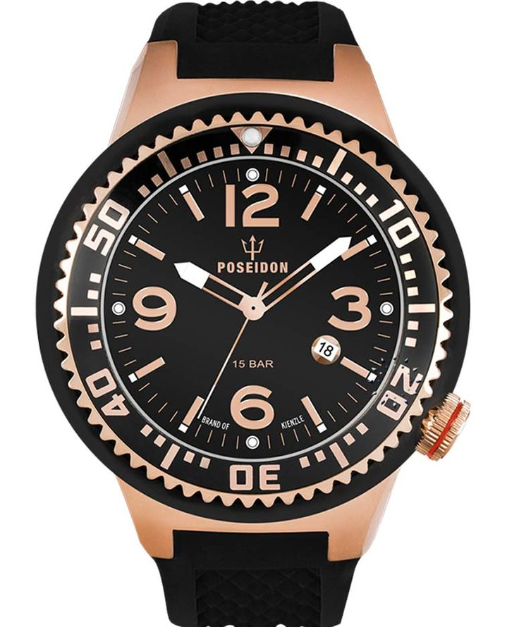 POSEIDON Slim Rose Gold Black Silicone Strap Τιμή: 129€ http://www.oroloi.gr/product_info.php?products_id=34115