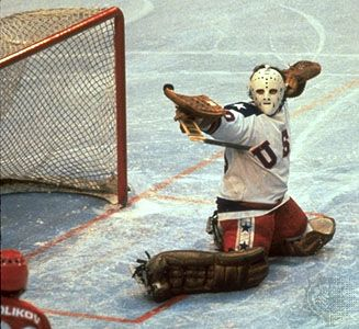 "Jim Craig, the goalie for Team USA, during the ""Miracle on Ice."" (via @catherine gruntman Benoit-Spargo Sports)"