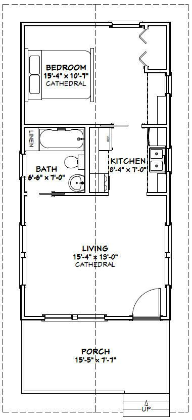 16x32 Tiny Houses 511 sq ft PDF Floor by ExcellentFloorPlans