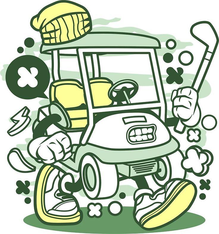 Golf cart cartoon golfing game golfer sticker golf