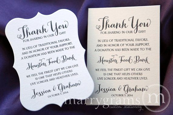Wedding Favor Donation Cards - In Lieu of Traditional Favors Reception Information Card - Custom Donation Table Cards, In Memoriam - SS02 on Etsy, $37.50