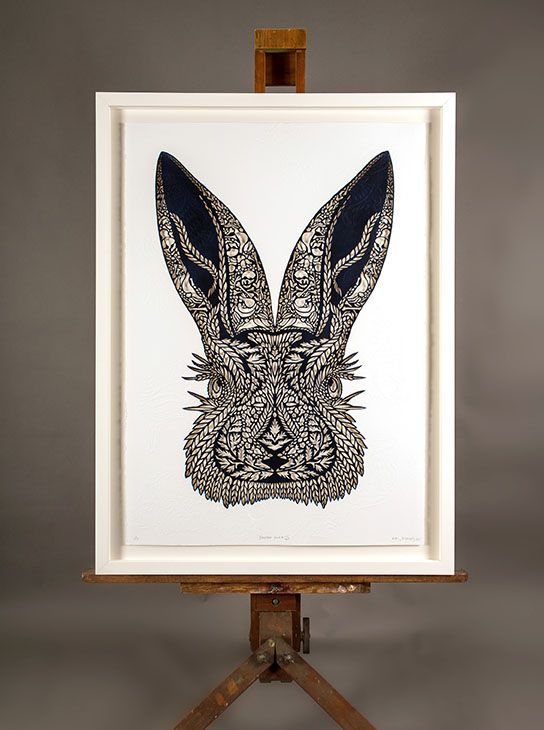 BADASS BUNNY IN THE CUT - FLOX AND MICHEL TUFFERY COLAB | Hand Cut w Emboss: $4100 700 x 1000mm Edition of 3 White Box Frame, Float Mount $400 | Flox.co.nz