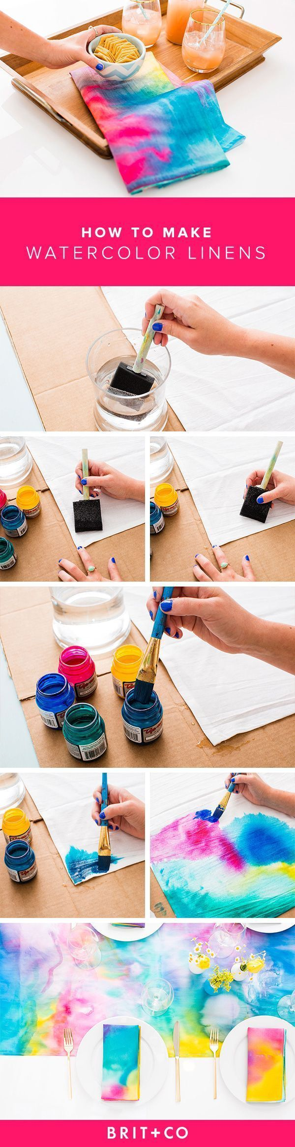 awesome Salle à manger - Spice up your dining room table with DIY watercolor linens....