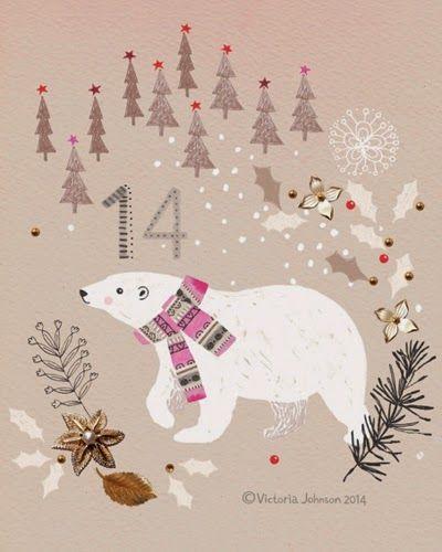 print & pattern polar bear, christmas, art, design, illustration, victoriajohnsondesign.com