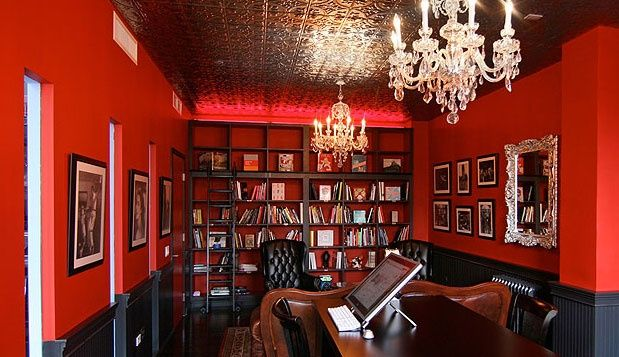 The Wonder Factory in New York City is full of intricately themed rooms, like this sumptuous 1930s-inspired library. (Designers: 212 Box & Forgaty Finger)