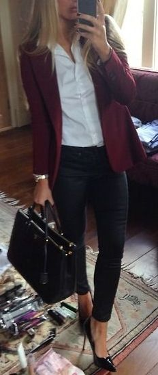 black & white. classic style. burgundy blazer.