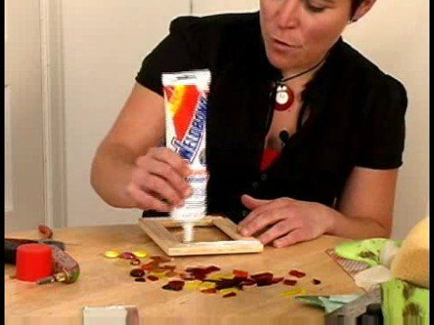 How to Make Stained Glass Mosaics : Gluing Stained Glass Mosaics