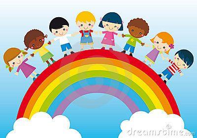 Children's day © Agnieszka Ulatowska/ dreamstime    Illustration of kids and rainbow, symbol of peace