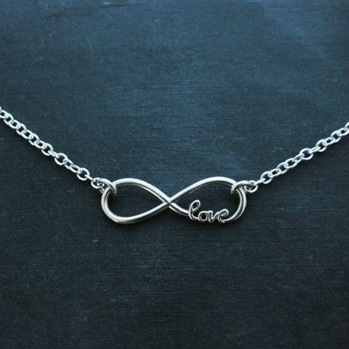 Sterling Silver Love Infinity Necklace