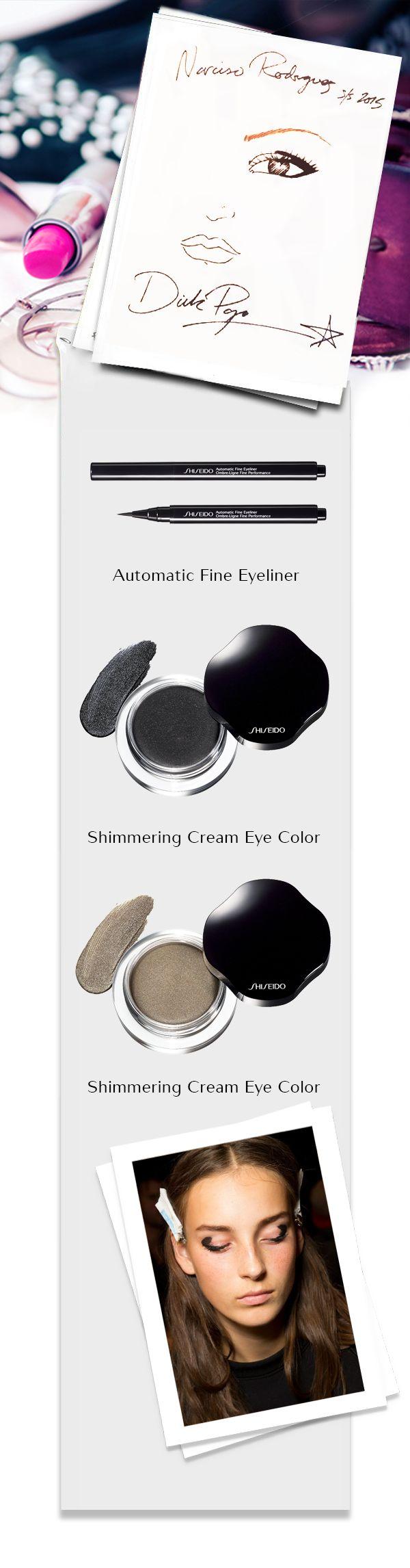 Lo stile Narciso Rodriguez S/S 2015 è minimalista, ridotto all'essenziale. Per lui Dick Page ha preparato un #makeup #Natural, dove l'occhio fa da protagonista. Due gli indispensabili prodotti per realizzarlo: lo Shimmering Cream Eye nero e color caviale, e l'Automatic Fine Eyeliner di #Shiseido. #NYFW #backstage #ShiseidoFW www.shiseido.it