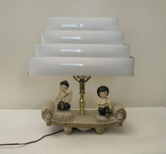Vintage Asian Figural Lamp with Venetian Blind Shade