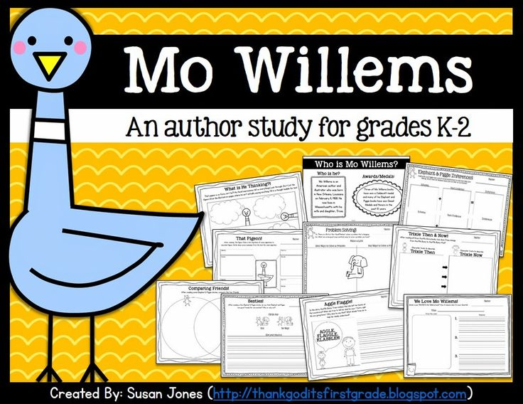 Mo Willems author study for grades K-2! Tons of literacy activities for students to interact with some of Mo Willems' most popular books!