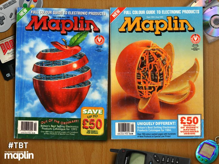 Two fruity catalogue covers from the mid 1990s #electronics #tamagotchi #minidisc #doom #doom2 #snes #electronics
