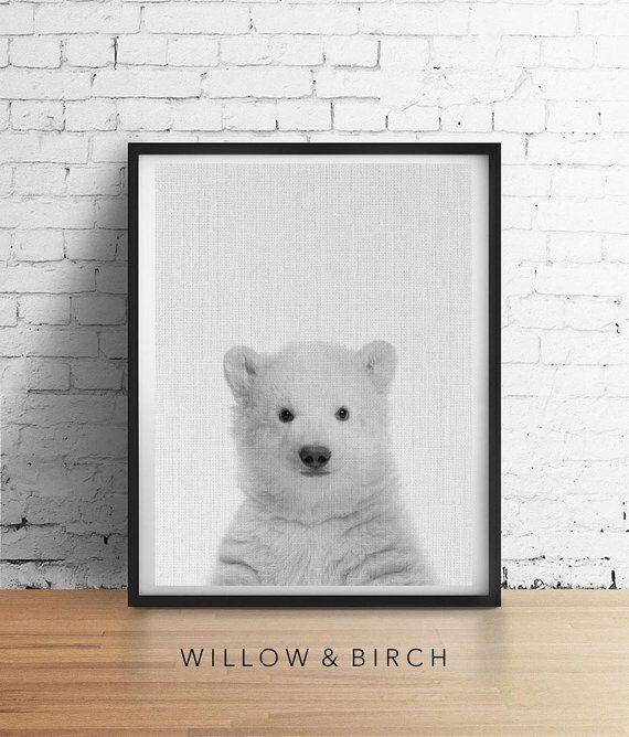 Printable Art POLAR BEAR Print Baby Cub by WillowandBirchPrints