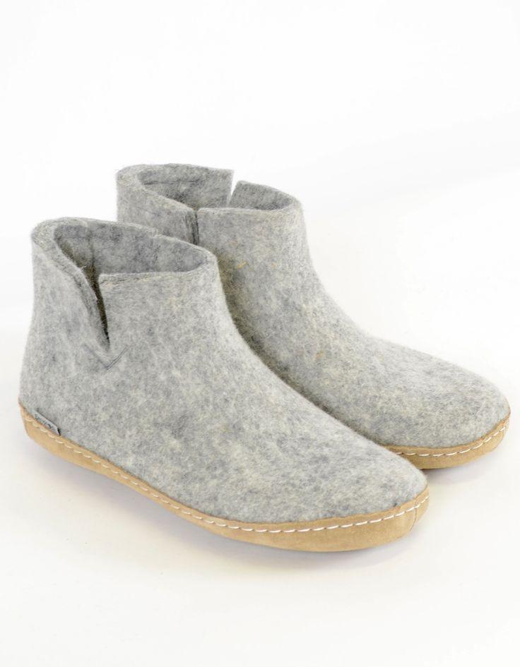 Glerups Women's Wool Boot Leather Sole Grey - Still Life - 3