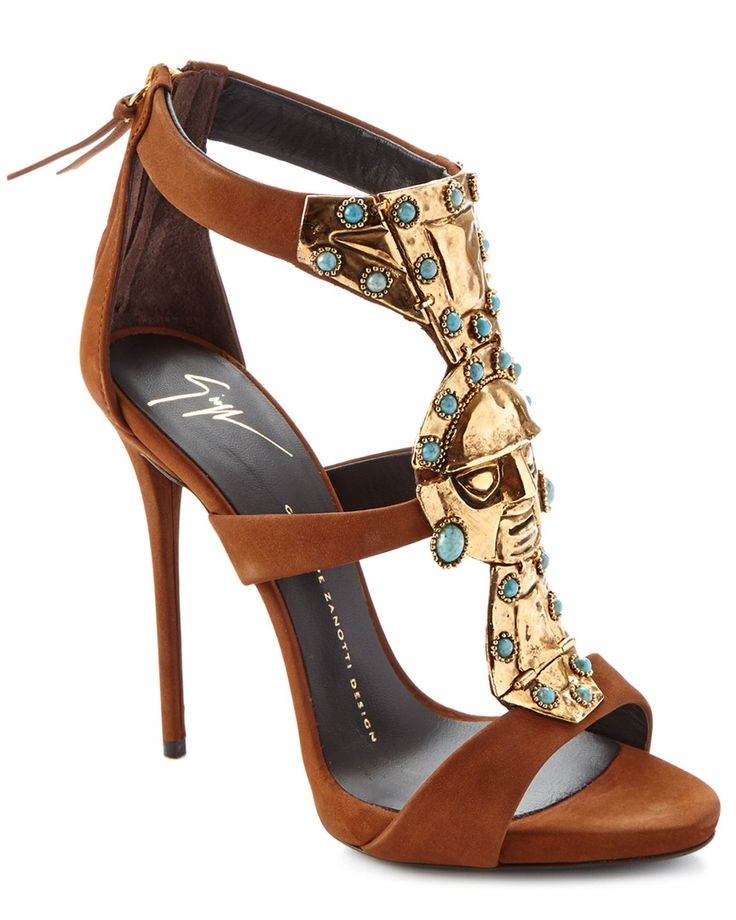 Giuseppe Zanotti Turquoise-Embellished Leather Sandal is on Rue.