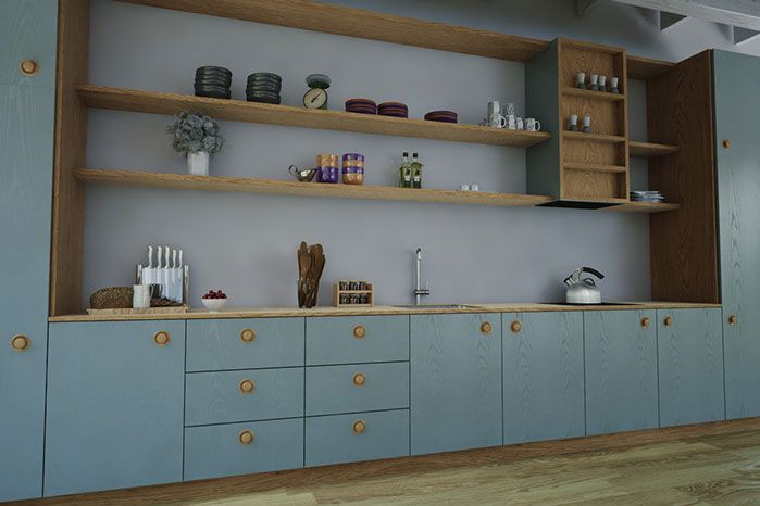 Pedersen køkken i malet asketræ - bæredygtigt håndværk fra @squareleaf