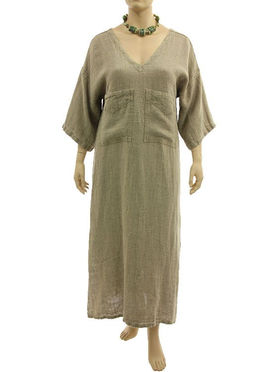 Great maxi dress caftan with 2 pockets, linen in nature L XL - Artikeldetailansicht - CLASSYDRESS Lagenlook Art to Wear Women's Clothing