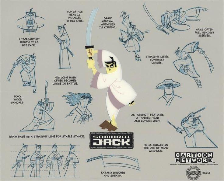 Cartoon Network SAMURAI JACK LE Cel Painting of Title Character + Model Sheet Background Print, 2003