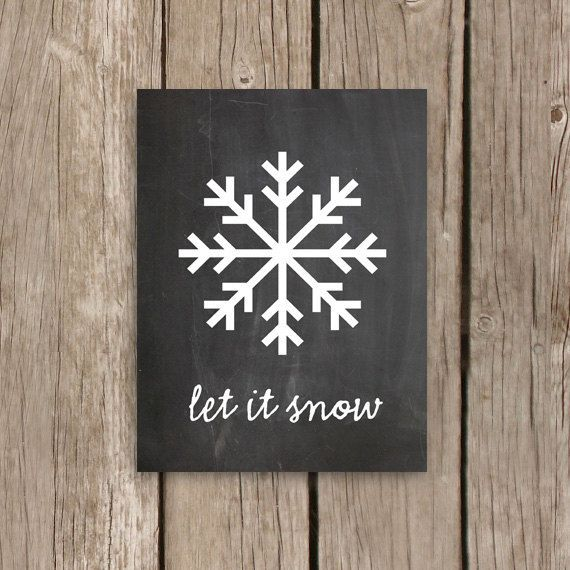 Chalkboard Print, Snowflake Art Christmas Decor, Quote Art Print, Chalkboard Art, Let It Snow on Etsy, $18.00